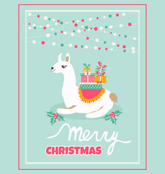 Holiday card with cute lama and presents vector
