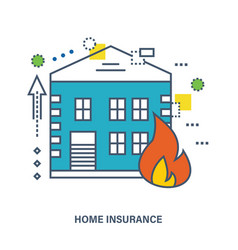 Home insurance fire protection flat vector