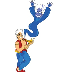 Man with genie vector