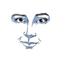 monochrome art drawing portrait of gorgeous dreamy vector image vector image