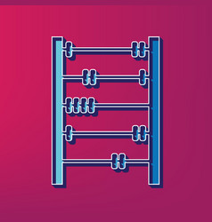 Retro abacus sign blue 3d printed icon on vector