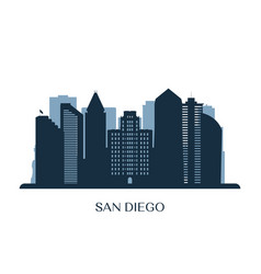 san diego skyline monochrome silhouette vector image
