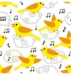 Seamless pattern with cute cartoon birds and notes vector image