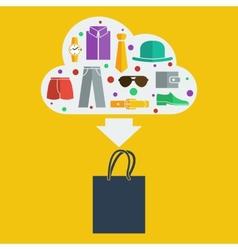 shopping bag man vector image