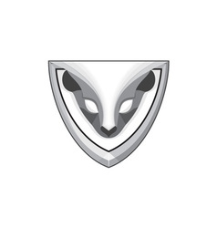 Skunk head front shield retro vector