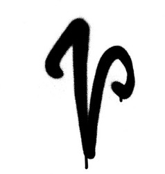 Sprayed curly v font graffiti with leak in black vector