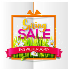 Spring sale orange frame with red ribbon vector