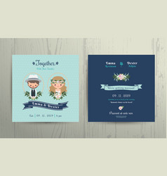 Wedding invitation card beach theme cartoon couple vector