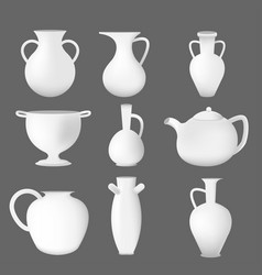white pot object isolate set vector image vector image