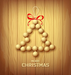 Wood merry christmas tree red ribbons design vector image