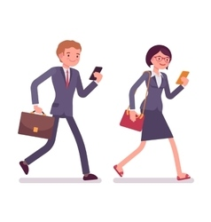 Office workers walking with smartphones vector