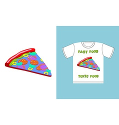 Fast food - toxic food piece pizza in acid colors vector