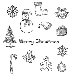 christmas icons black and white vector image