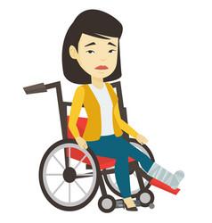 Woman with broken leg sitting in wheelchair vector