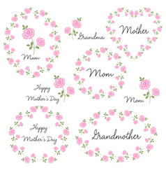 Mothers day set with roses vector