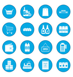 Supermarket icon blue vector