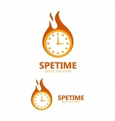 Logo clock in a fire vector