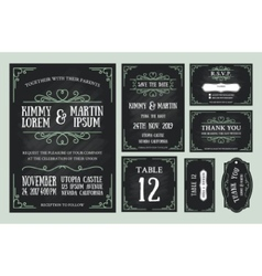 Vintage wedding invitation chalkboard design vector