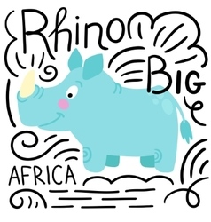 Rhino blue background isolated vector