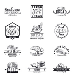 Set of bakery and bread logos labels vector