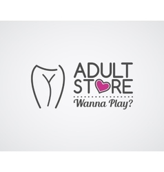 Adult store logo design cute sex shop badge vector