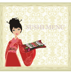 Asian girl enjoy traditional japanese food vector