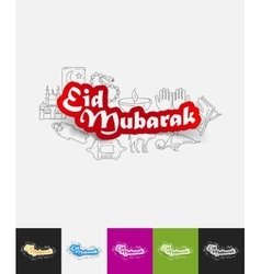 Eid mubarak paper sticker with hand drawn elements vector