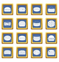 Burger icons set blue vector