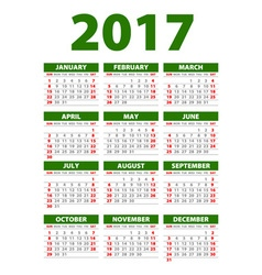 Calendar for 2017 Week Starts Monday vector image