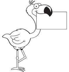 Cartoon flamingo holding a sign vector