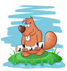 cartoon funny beaver gnawing on a tree vector image vector image