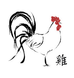 Chinese new year of rooster 2017 art greeting card vector
