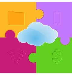 Cloud computing promo puzzle background vector