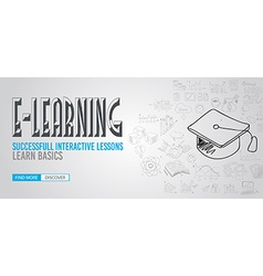 Educational and Learning concept with Doodle vector image