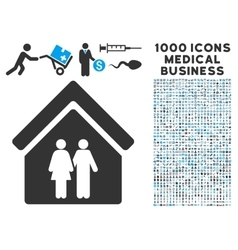 Family House Icon with 1000 Medical Business vector image