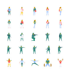 Flat icons set of people vector