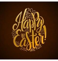 Gold foil happy easter greeting egg card vector