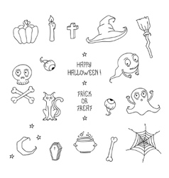 Happy Halloween Set with pumpkins skulls cats vector image