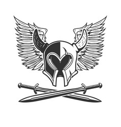 horned helmet with crossed swords and wings vector image vector image