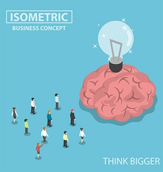Isometric business people big brain and light bulb vector