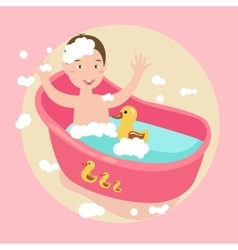 kids happy play water in bath with rubber duck vector image vector image