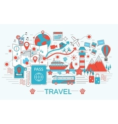 Modern Flat thin Line design Travel toutism vector image