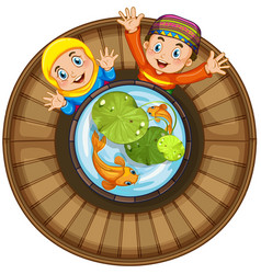 Muslim boy and girl by the fish pond vector