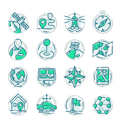 Navigation outline location pin pictogram icons vector