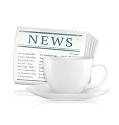 Newspaper and cup of coffee vector image