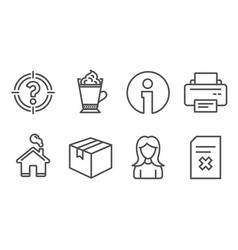 Parcel latte coffee and woman icons printer vector