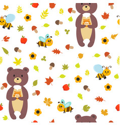 Seamless pattern with bears and bees cute vector