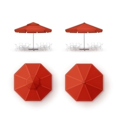 Set of Red Patio Outdoor Beach Cafe Umbrella vector image