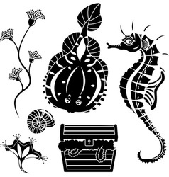 underwater stencil vector image vector image