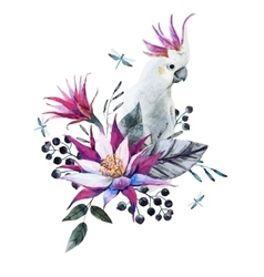 Watercolor tropical composition with white parrot vector image